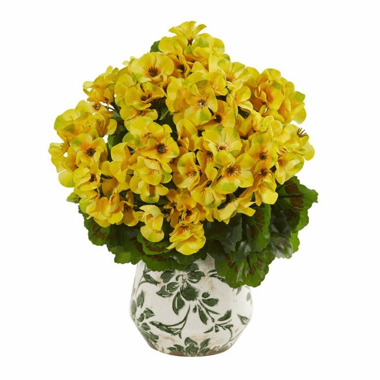 Yellow 12� Geranium Artificial Plant in Vase UV Resistant (Indoor/Outdoor)