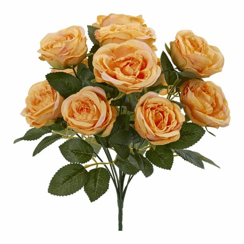 "Yellow 14"" Rose Bush Artificial Flower (Set of 6)"