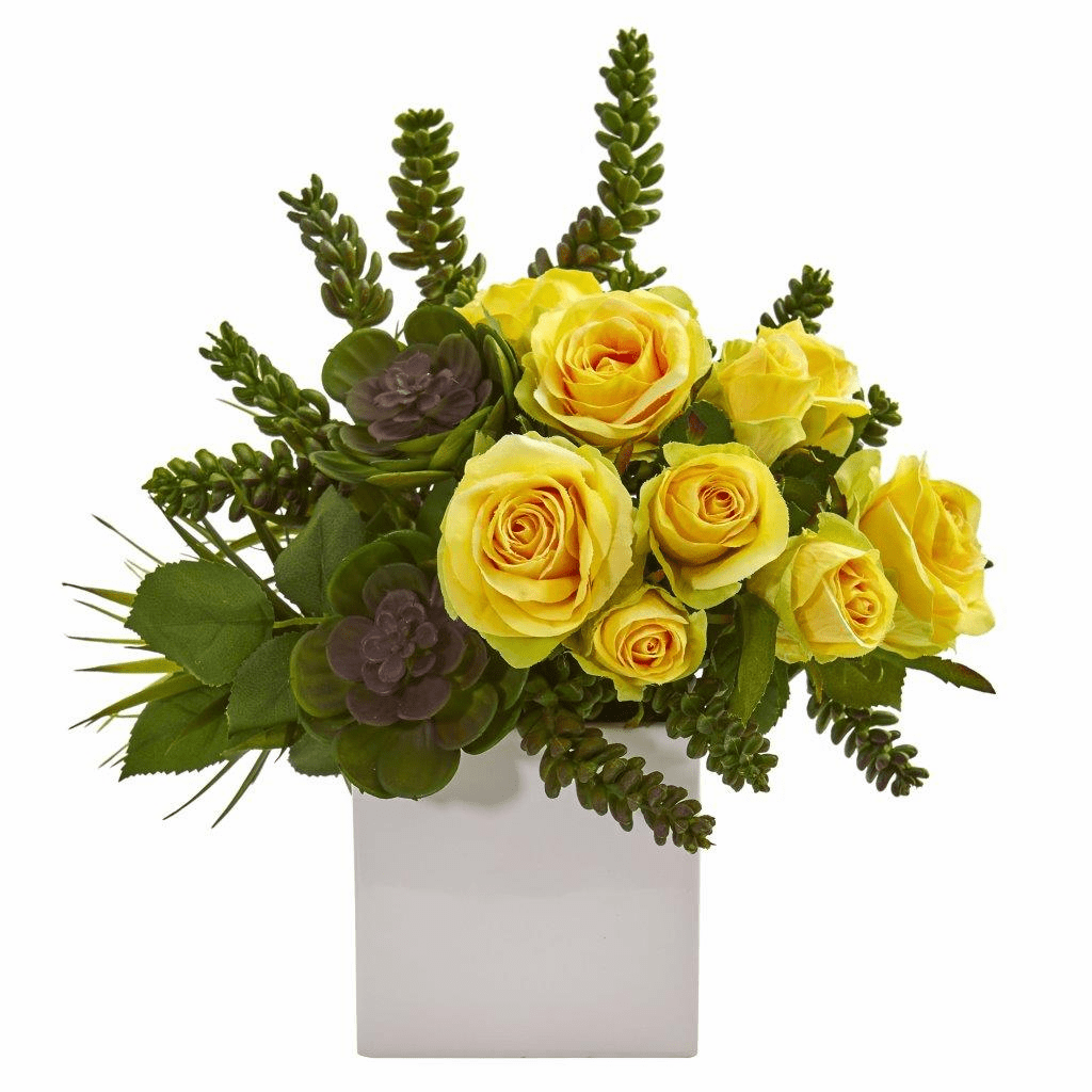 14� Yellow Rose & Succulent Artificial Arrangement in White Vase