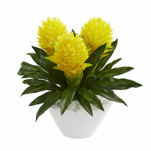 """Yellow 17"""" Ginger Artificial Plant in White Vase"""