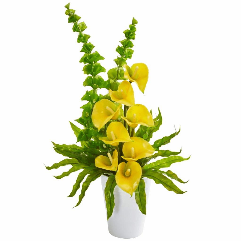 23� Yellow Calla Lily and Bell of Ireland Artificial Arrangement