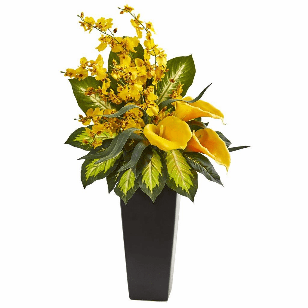 29� Yellow Calla Lily & Orchid Artificial Arrangement in Black Vase