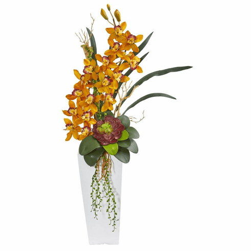 3' Yellow Cymbidium Orchid and Succulent Artificial Arrangement