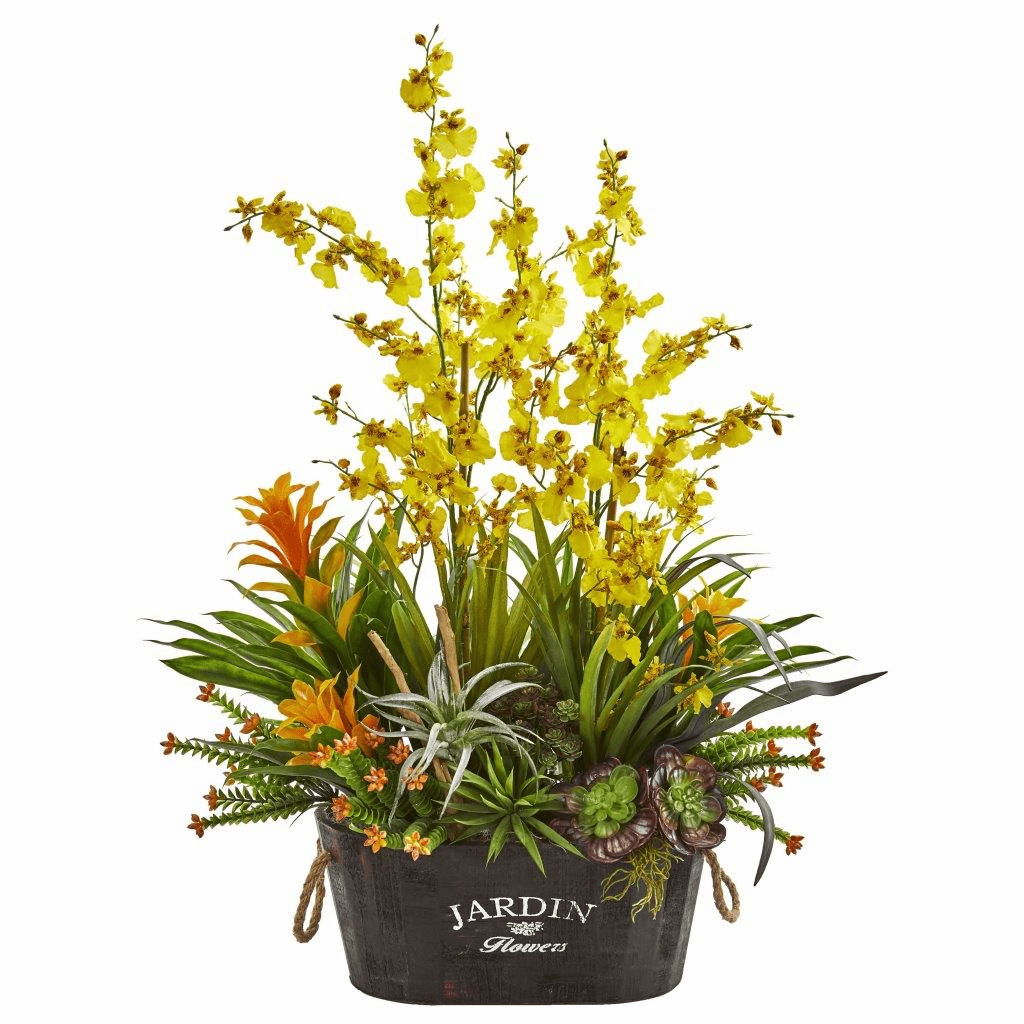 33� Yellow Orchid, Bromeliad & Succulent Garden Artificial Arrangement