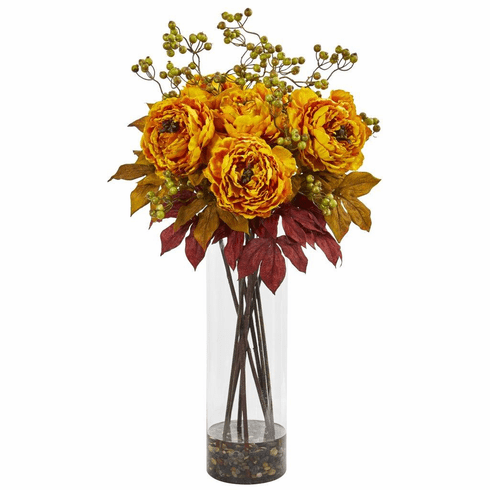 "36"" Yellow Peony and Berries Artificial Arrangement in Large Cylinder Vase"