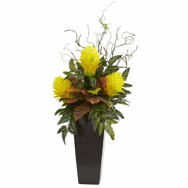42� Yellow Bromeliad and Croton Artificial Plant in Black Vase