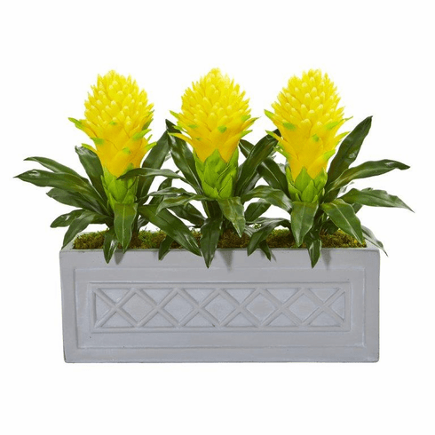 "19"" Yellow Bromeliad Artificial Plant in Stone Planter"