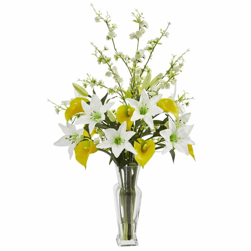 "29"" Yellow Calla, Lily and Cherry Blossom Artificial Arrangement"