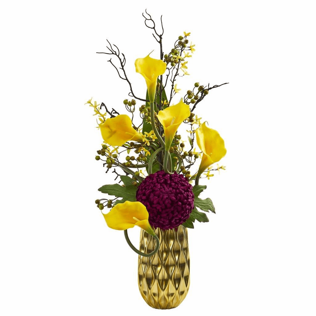"36"" Yellow Calla Lily and Mum Artificial Arrangement in Gold Colored Vase"