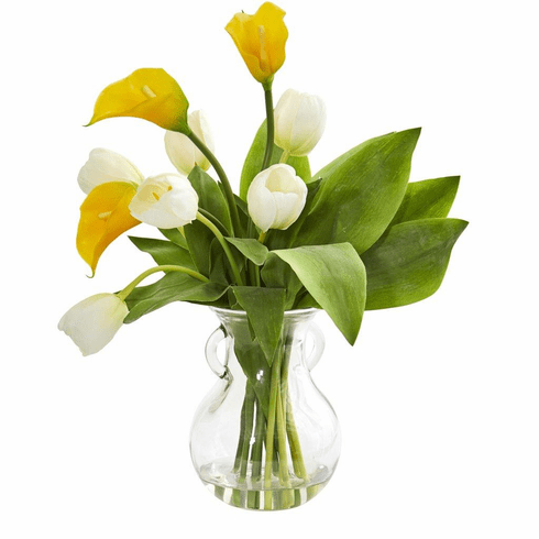 "19"" Yellow Cream Calla Lily & Tulips Artificial Arrangement in Decorative Vase"