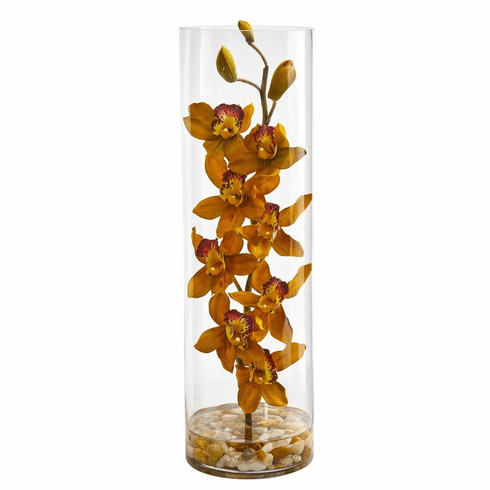 "20"" Yellow Cymbidium Orchid Artificial Arrangement in Cylinder Vase"