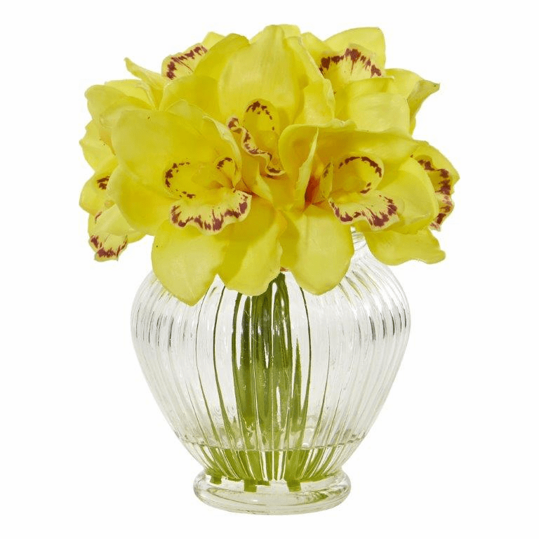 "9"" Yellow Cymbidium Orchid Artificial Arrangement in Glass Vase"