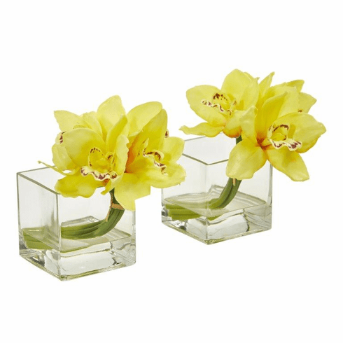 Yellow Cymbidium Orchid Artificial Arrangement in Glass Vase (Set of 2)