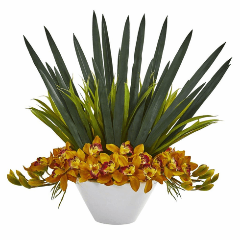 "24"" Yellow Cymbidium Orchid Artificial Arrangement in White Bowl"