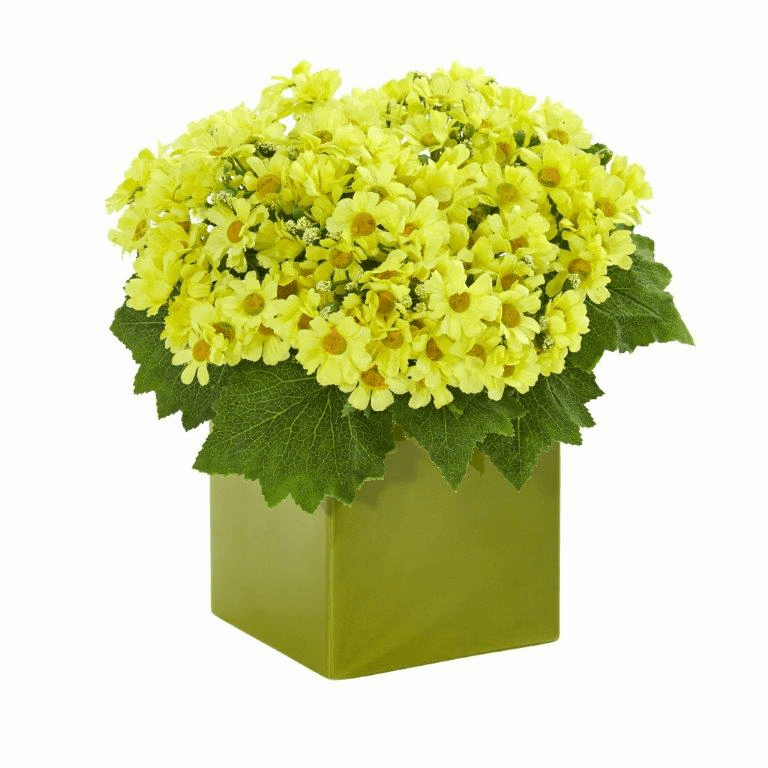 "11"" Yellow Daisy Artificial Arrangement in Green Vase"