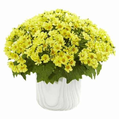 Yellow Daisy Artificial Arrangement in Marble Finished Vase