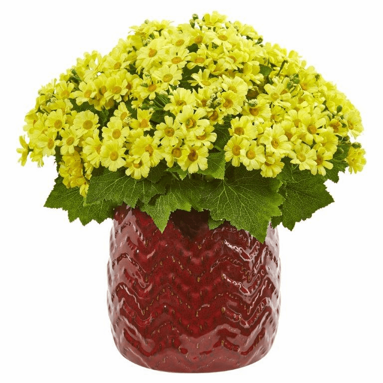 "14"" Yellow Daisy Artificial Arrangement in Red Planter"