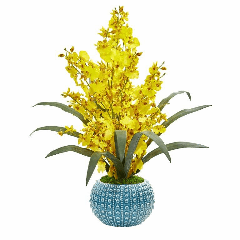 "20"" Yellow Dancing Lady Orchid Artificial Arrangement in Blue Vase"
