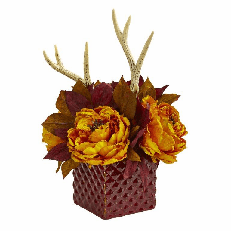 "17"" Yellow Peony and Antlers Artificial Arrangement in Red Vase"