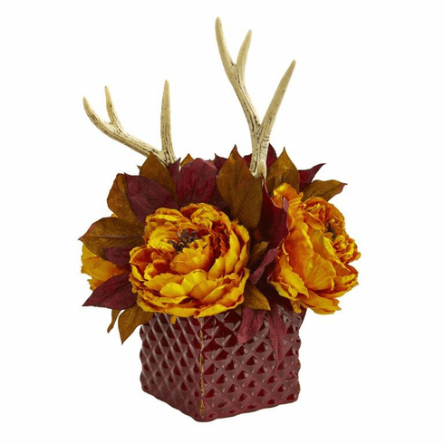 Yellow Peony and Antlers Artificial Arrangement in Red Vase