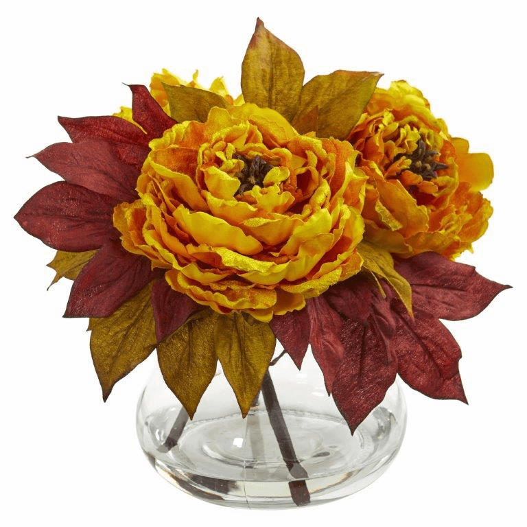 "10"" Yellow Peony Artificial Arrangement"