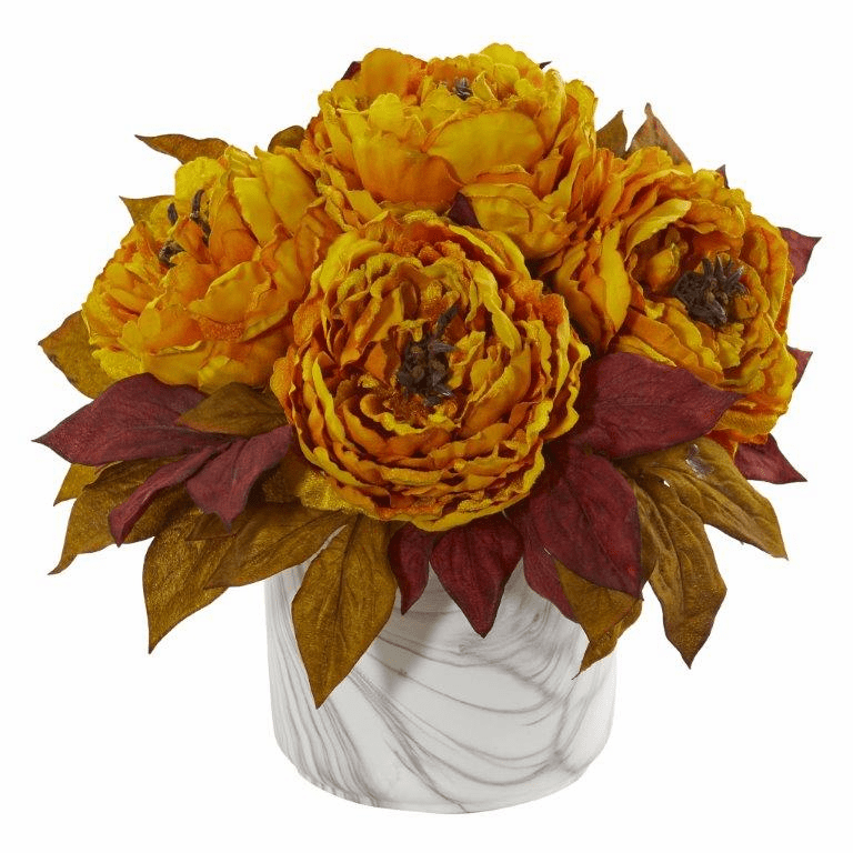 "12"" Yellow Peony Artificial Arrangement in Marble Finished Vase"