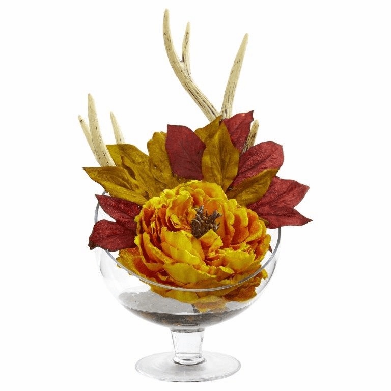 "15"" Yellow Peony Artificial Arrangement in Pedestal Glass Vase"