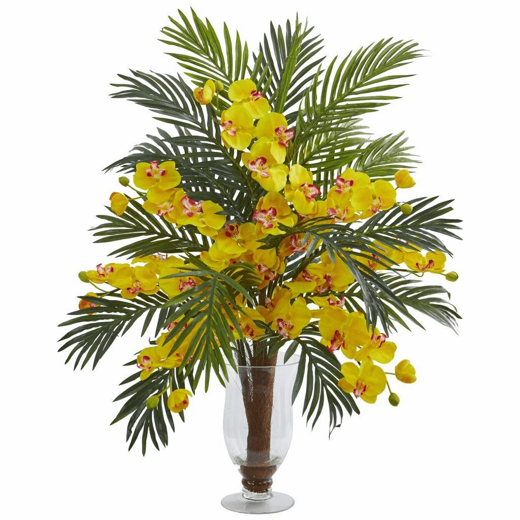"30"" Yellow Phalaenopsis Orchid and Areca Palm Artificial Arrangement"