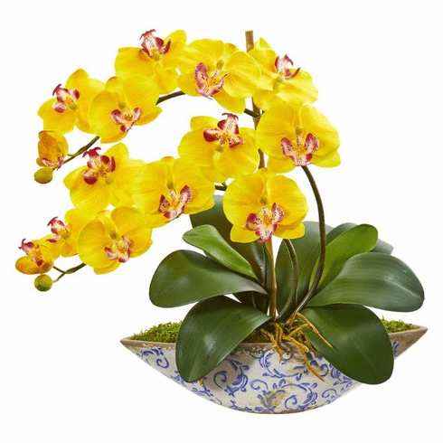 "16"" Yellow Phalaenopsis Orchid Artificial Arrangement in Vase"