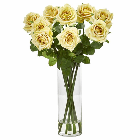 Yellow Rose Artificial Arrangement in Cylinder Vase