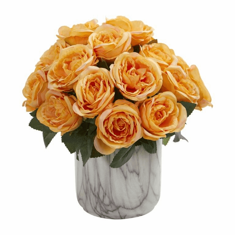 "12"" Yellow Rose Artificial Arrangement in Marble Finish Vase"
