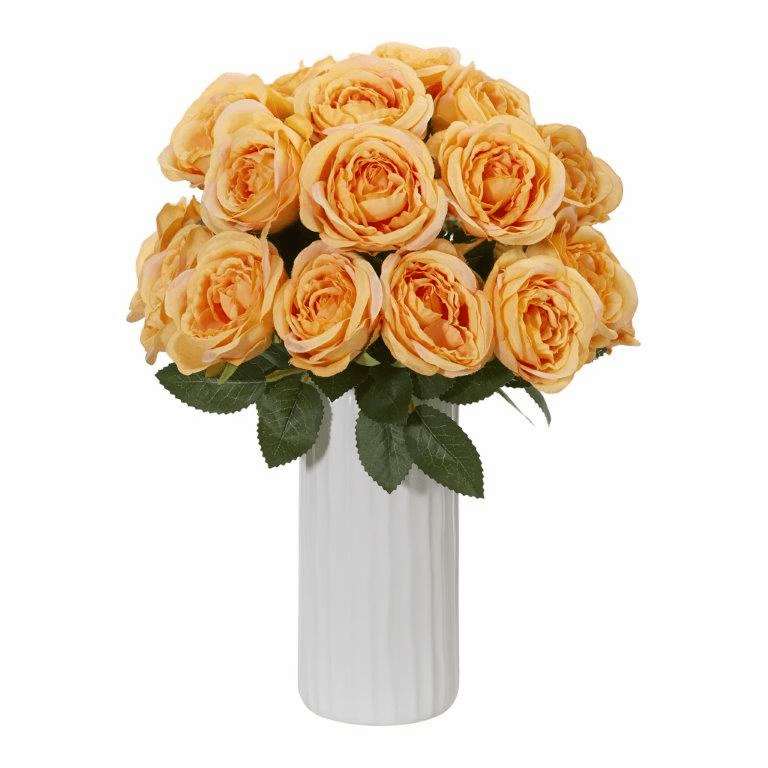 Yellow Rose Artificial Arrangement in White Vase