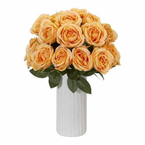 "14"" Yellow Rose Artificial Arrangement in White Vase"