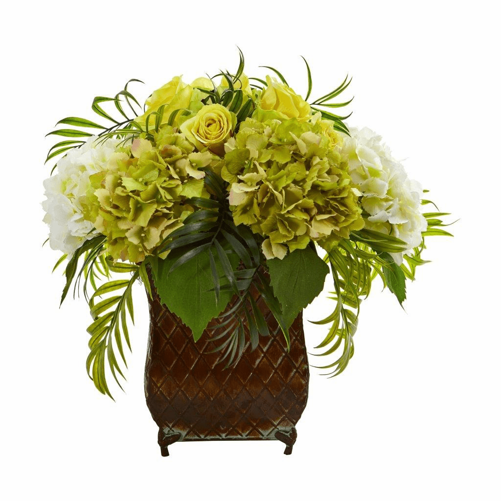 "15"" Yellow Roses and Hydrangea Artificial Arrangement in Metal Planter"