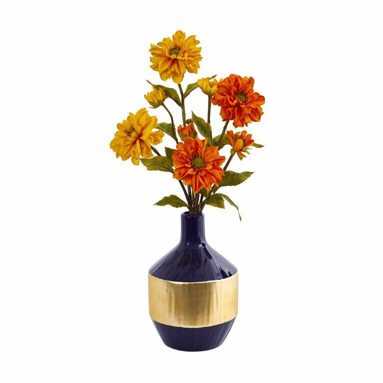 "22"" Zinnia Artificial Arrangement in Blue and Gold Designer Vase"