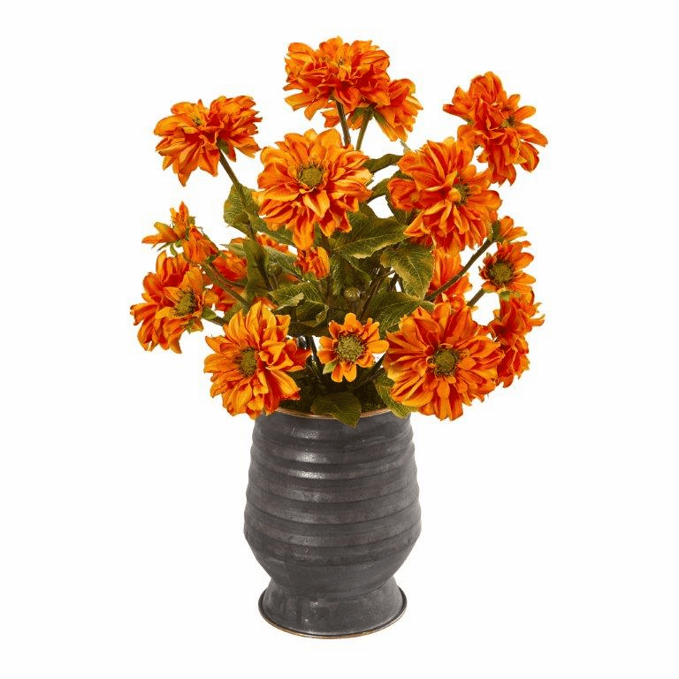 "21"" Zinnia Artificial Arrangement in Ribbed Metal Planter - Orange"