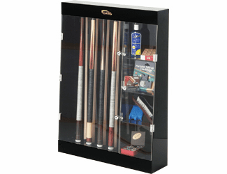 10 Cue Wall Mount Display Case w/ Accesory Shelves
