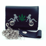 Trucker Babe Pot Leaf  Leather Chain Wallet
