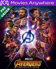 Avengers: Infinity War HD UV or iTunes Code via MA (PRE-ORDER WILL EMAIL ON OR BEFORE BLU-RAY RELEASE DATE)