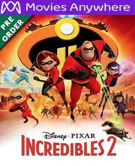 INCREDIBLES 2 HD UV or iTunes Code via MA (PRE-ORDER WILL EMAIL ON OR BEFORE 11-6-18)