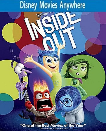 Inside Out HD DMA Disney Movies Anywhere Code, Vudu or iTUNES