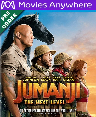 Jumanji: The Next Level HD Vudu or iTunes Code via MA (PRE-ORDER WILL EMAIL BETWEEN MARCH 17-19)