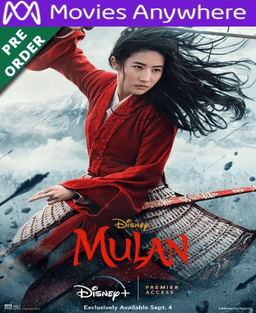 MULAN (2020) HD Vudu or iTunes Code via MA (PRE-ORDER WILL EMAIL 11-12-2020
