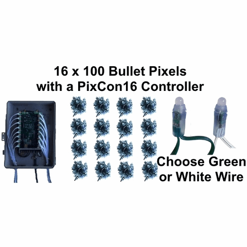 12V - 16x100 GREEN Bullet Pixel Package with PixCon16 Controller