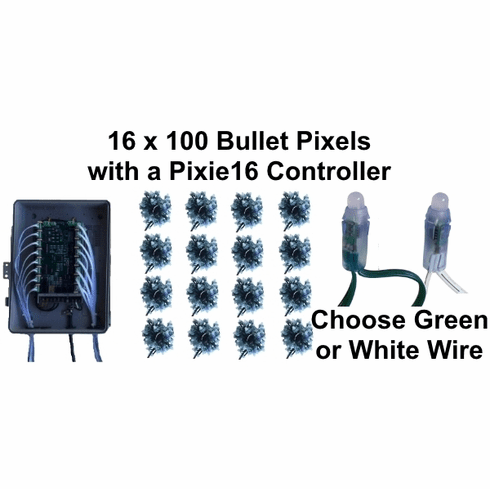 12V - 16x100 GREEN Bullet Pixel Package with Pixie16 Controller