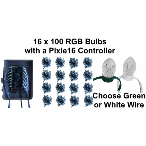 12V - 16x100 RGB Bulb Package with Pixie16 Controller