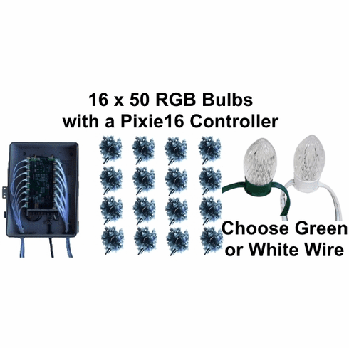 12V - 16x50 RGB Bulb Package with Pixie16 Controller