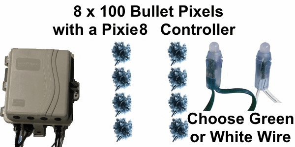 12V - 8x100 Bullet Pixel String Package with Pixie8 Controller