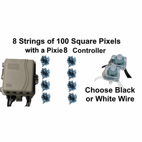 12V - 8x100 Square Pixel String Package with Pixie8 Controller
