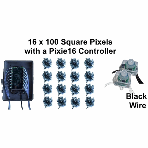 BLACK 16 x 100 Pixel String Package with Pixie16 Controller